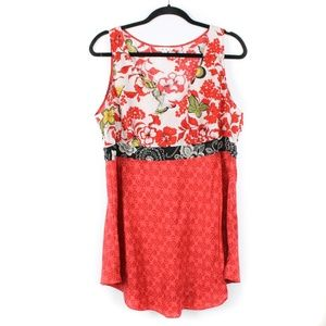 CABI Red Silk Tank Top Floral Large *X277